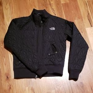 North face thin quilted black waist length jacket